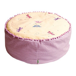 """Wingreen - WinGreen Bean Bag - Butterfly - Our Butterfly Bean Bag is appliqued and embroidered with pretty butterflies and dragonflies and finished with a light dusting of multi-colored dots.  Lilac pom-pom trim and lilac mini-gingham sides. The removable outer cover is machine washable and the inner lining contains fire retardant polystirene beans. Size: 24"""" diameter x 11.80"""" high"""