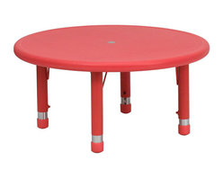 "Flash Furniture - 33"" Round Height Adjustable Round Red Plastic Activity Table - Kids activity tables are excellent for early childhood development. The primary colors make learning and play time exciting when several colors are arranged in the classroom. This durable table features a plastic top with steel welding underneath along with adjustable steel legs that is sure to last throughout the years."