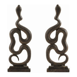 "Arteriors - Arteriors Home - Heath Andirons (Set of 2) - 6312 - These bold, sculptural andirons are cast in iron and feature a classic thematic element, the snake, which takes center stage in this year's fireplace collection - the year of the snake. Features: Heath Collection Andirons Set of 2Cast Natural Iron Some Assembly Required. Dimensions: W: 7.5"" x D: 7"" x H: 22"""