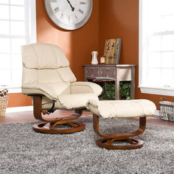 """Holly & Martin - Canyon Lake Leather Recliner and Ottoman in T - Set includes recliner w attached side table and ottoman. Accessory side table is movable. Mechanism-glide system with position lock. 360� Swivel recliner. Ottoman does not swivel. All birch hardwood true """"U"""" upgraded designer base. Constructed of birch hardwood, bonded leather, foam and metal. Pictured in Taupe. 1 Year warranty against manufacturer defects. Assembly required. Weight capacity: 300 lbs.. Side table: 11 in. across. Back rest: 23 in. W x 25 in. H. Ottoman base: 18 in. across. Ottoman: 22.25 in. W x 18.5 in. D x 17.5 in. H. Recliner: 35 in. W x 33 in. D x 40.5 in. H. Recliner base: 24 in. acrossBecome familiar with the concept of luxury as this recliner and ottoman set is all about rich, traditional elegance and modern superiority. This reclining chair and matching ottoman merges the ease of reclining with the comfort of luxurious bonded leather for a perfect end-of-day reward. As a bonus, this set comes with a smooth sliding side table that offers a handy spot for holding a beverage or storing a remote. So go ahead and put your feet up with this ergonomically designed recliner and ottoman set; you'll want one for every room."""