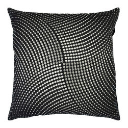 "Surya P0223-1818P 100% Cotton 18"" x 18"" Decorative Pillow - Stylish metallic circles of intricate detail make this pillow an elegant edition to any space. Colors of black and silver accent this decorative pillow. This pillow contains a poly fill and a zipper closure. Add this 18"" x 18"" pillow to your collection today. Filler: Poly Fiber. Shape: Square"