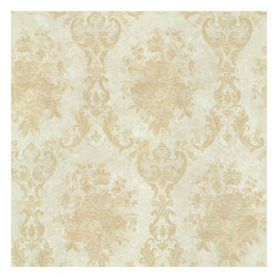 Dutchess Gold Floral Damask Wallpaper Bolt - A romantic green and gold damask wallpaper with luxe silk effects.