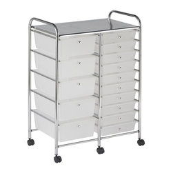 Ecr4kids - Ecr4Kids 15 Drawer Mobile Storage Organizer (White) - This practical organizer can hold just about everything from art and crafts projects to office supplies or even hand tools With its 15 drawers, its perfect for the home or office. Polypropylene drawers easily slide in and out on the chrome plated steel frame rails. This double-wide, multi-purpose organizer glides effortlessly under most tables or desks on 6-swivel casters (2-locking).