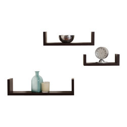 "Danya B. - Floating 'U' Laminated Veneer Shelves (Set of 3), Walnut - This set of 3 Nesting ""U"" Shelves makes space utilization efficient & is perfect for displaying your favorite books, collectibles, photos, toys, awards, CD's, videos, decorative items and more. They can be hung with the vertical sides either up or down, according to the effect you want to create. With the vertical sides up, it is like having a built in bookend. With its contemporary espresso, wood grain,�black�or classic white finish, they are the ideal accent for any living space. Easy to install with no visible connectors or hanging hardware. All hardware included.� Overall measures: Large: 17 x 4 x 4"".� Medium: 13 x 4 x 3.5"".� Small: 9 x 4 x 3""."