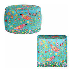 DiaNoche Designs - Bohemian Birds Ottoman - Lightweight, artistic, bean bag style Ottomans. Coming in 2 square sizes and 1 round, you now have a unique place put rest your legs or tush after a long day! Artist print on all sides. Dye Sublimation printing adheres the ink to the material for long life and durability. Printed top, khaki colored bottom. Machine washable. Product may vary slightly from image.
