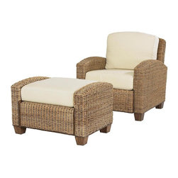 HomeStyles - Chair with Ottoman in Honey Finish - * Ecru upholstered cushions to easily coordinate with many decorating schemes. Made from mahogany hardwood and natural woven banana leaves. Made in Indonesia. Chair: 36 in. W x 29.75 in. D x 31.75 in. H. Ottoman: 32 in. L x 22 in. W x 20.5 in. H. Chair Assembly Instruction. Ottoman Assembly InstructionRelax with your feet up on our Cabana Banana Chair and Ottoman providing casual comfort with an 'island' inspired style. Cleaning instructions for fabric - Use any commercial upholstery cleaner.