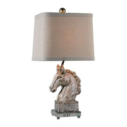 Uttermost - Rathin Horse Lamp - Crackled ivory ceramic with a dark brown glaze and acrylic foot.