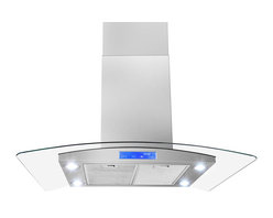 """AKDY - AKDY AK-Z668IS2 Euro Stainless Steel Island Mount Range Hood, 36"""", Duct/Pipe - Elegant European curved glass design that is both beautiful and functional. The airy design is a stunning focal point that complements its surrounding perfectly. AKDY brings you the 668IS2 36"""" Curved Glass Canopy Island Hood with an 870 CFM Internal Blower. Use this AKDY stainless steel and glass chimney hood to keep your range free of steam and smoke while you cook. This powerful island hood will keep your kitchen running optimally for cooking and baking. Features: 3-speed electronic touch screen with speed selection indicator. Bright quad LED lighting (bulbs included)."""