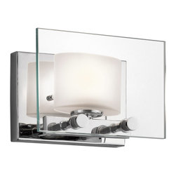 Kichler Lighting - Kichler Lighting Como Modern / Contemporary Wall Sconce X-HC07154 - This versatile 1 light halogen wall sconce from the Como&trade: collection leaves a soft, subtle impression. The clean detailing, Polished Chrome finish, Clear Glass Paneling and Etched Glass Shade creates a delicate, luminous accent for any space.