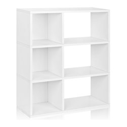 Way Basics - Way Basics 3 Shelf Sutton Bookcase, White - This no-fuss modern shelving unit is all about simplicity, from assembly to functionality to style. Attach your modular shelves instantly with a super-strong adhesive tape — no diagrams or pegs! The combination of open-backed shelves and enclosed cubes gives you a range of storage possibilities. Made from recycled paper, the unit is lightweight, non-toxic and ecofriendly. What's not to like?