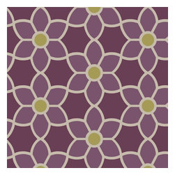 Brewster Home Fashions - Blossom  Purple Geometric Floral Wallpaper Bolt - With a gorgeous palette of purple grey and green this fashionable wallcovering adds chic style to walls with a modern floral design that transforms your average geometric pattern into an oh la la decor piece.