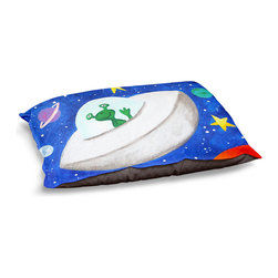 """DiaNoche Designs - Dog Pet Bed Fleece by nJoyArt - Flying Saucer - DiaNoche Designs works with artists from around the world to bring unique, designer products to decorate all aspects of your home.  Our artistic Pet Beds will be the talk of every guest to visit your home!  BARK! BARK! BARK!  MEOW...  Meow...  Reallly means, """"Hey everybody!  Look at my cool bed!""""  Our Pet Beds are topped with a snuggly fuzzy coral fleece and a durable underside material.  Machine Wash upon arrival for maximum softness.  MADE IN THE USA."""