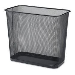 Lorell - Lorell Black Mesh Rectangular Waste Bin - 7.90 gal Capacity - Rectangular - Rectangular waste receptacle is part of a line of black steel mesh and wire desk accessories. Quality mesh construction has smooth edges and an appealing, powder-coat paint finish to match most office decor.