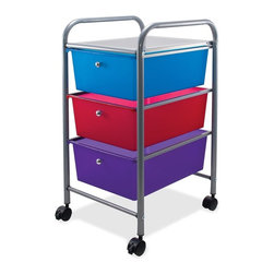 Advantus - Advantus 3-Drawer Organizer - 15.5 x 13 x 27 - Metal - 3 - Locking Casters - Three-drawer organizer is perfect for the home, office, school or anywhere. Compact size fits conveniently into small spaces. Design also includes high-tech metallic rails and knobs. Each drawer measures 14-1/2 wide x 10-1/2 long x 5-1/4 high. Organizer rolls on four swivel casters (two locking).