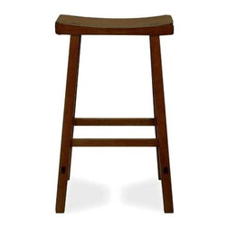 International Concepts - Wooden Counter Stool w Saddle Seat - Back in the saddle again. This saddle seat counter stool adds a unique look to your kitchen. It's solid wood with a rustic oak finish and a minimalist profile. So if it's country or casual you're searching for, this is it! The smoothly scooped seat invites you to spend a moment to leisurely sip your morning coffee. * Saddle seat. Square legs. Solid wood construction. No assembly required. 17.5 in. W x 9 in. D x 23.75 in. H (12 lbs.). Seat height: 23.75 in.