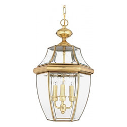 Quoizel - Quoizel 3 Light Newbury Outdoor Pendant in Polished Brass - NY1179B - When it comes to curb appeal, outdoor lighting plays a large part in creating a special ambiance. The classic design and beveled glass of the Newbury gives the outside of your home a rich elegance, without making it look over-embellished. It's a versatile look that coordinates with most any architectural style.