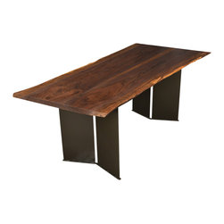 Natural edge furniture black walnut dining with chevron for Reclaimed wood furniture bend oregon