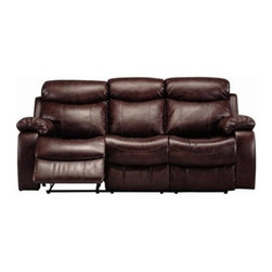 "Coaster - Motion Sofa (Brown) By Coaster - Dimension: 84""W x 37""D x 39""H Seat Height: 20"" Seat Depth: 22"" Finish: Brown Material: Leatherette Motion Sofa with Pillow Arms in Brown Leatherette This reclining sofa will make a wonderful addition to your living room with its casual comfort and style. Plush double reclining scoop seats offer the ultimate in comfort. The horizontally split back cushions provide lumbar support, and the fully cushioned chaise pad seats provide comfort from head to toe. Hardwood solid frame with Leggett & Platt mechanisms. Sinuous spring base. Matching motion loveseat and rocker recliner are available separately."