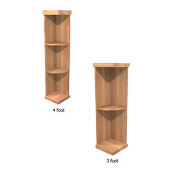 Wine Cellar Innovations - Winemaker Series Quarter Round Shelf Cabinet - The Quarter Round Display Wine Shelf is perfect for displaying decanters, champagne buckets, or fine wine accessories. These 3 and 4 shelf wooden units make a flowing transition from wine racks to the wall. Assembly Required.