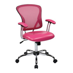 Avenue Six - Avenue Six Peyton Task Chair in Pink - Avenue Six - Office Chairs - PTN26U261 - Featuring Vinyl padded seat and modern mesh back Peyton Task Chairs are a modern delight to any office space. Enjoy locking tilt control with adjustable tilt tension with its gorgeous Chrome finish base at any time of the day. Carpet casters for easy mobility.