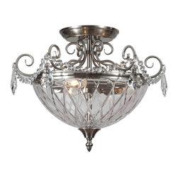 Joshua Marshal - Avery Three Light Polished Chrome Clear Glass Bowl Semi-Flush Mount - Three Light Polished Chrome Clear Glass Bowl Semi-Flush Mount