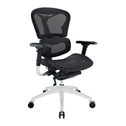 Modway Furniture - Modway Lift Mid Back Office Chair in Black - Mid Back Office Chair in Black belongs to Lift Collection by Modway Years of extensive research have paid off to develop the Lift mesh chair. Alleviate back pain with a proprietary dual-plane system that supports both the lumbar and shoulder regions. The wide angle waterfall seat pan eases under-thigh pressure while keeping weight off your lower vertebrae. Easily personalize Lift with seat depth controls that adjust to your build and posture. This model is also known and appreciated for its armrests. With full-scale mobility in all six directions, these padded supports help you position your elbows for 90 degree typing. The durable mesh seat and back is fully-breathable, keeping you climate-steady all day long. Although functionally sound and ergonomic, Lift also has a sleek and modern look to it as well. Complete with a shimmering chrome-plated metal back and base, the chair provides a wonderful blend of both distinction and comfort. Fully height adjustable with a powerful pneumatic lift, the chair pairs well with nearly all computer tables and workstations. Constructed for heavy use and superior enjoyment, this is a chair that will last you through hundreds of hours of use. Set Includes: One - Lift Mesh Ergonomic Executive Chair Office Chair (1)