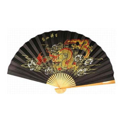 Oriental-Decor - Storm Dragon Asian Wall Fan - A fierce Chinese dragon rises out of the sea spewing his fire. Such actions of the dragon are fabled to result in strong storms. This awesome dragon wall fan will make for splendid decoration on any wall in your home.