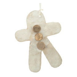 Kouboo - Holiday Tree Ornament Gingerbread Man in Natural Capiz Seashell, Set of 2, Small - Offered as a set of 2.