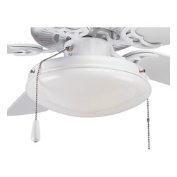 Progress Lighting - Progress Lighting P2611-30 Airpro White Two-Light Ceiling Fan Light White Opal G - Two-light ceiling fan kit with low-profile white opal glass. For use with P2500, P2501 and P2502 ceiling fans and includes quick connector for easy wiring. Corresponding pull chain features Chrome finish with a white fob. Universal style for use with any indoor/outdoor fans that accept an accessory light. UL listed for wet locations.