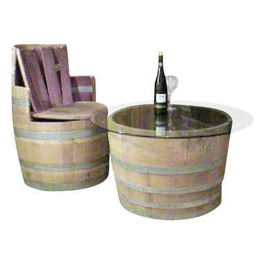 Master Garden Products - Wine Barrel Coffee table base only, lacquer finished for indoors - Our oak wood wine barrel pedestal tables are made from genuinely recycled wine barrels from California. Has an opening and a shelf at the bottom. A larger table top can be added onto the barrel to turn it into a one of a kind pedestal bar table with a center island that can be used as a mini bar, or as a center piece for candles, flowers, etc.