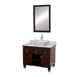 Wyndham Collection - 36 in. Eco-Friendly Bathroom Vanity - Includes natural stone counter, backsplash, one vessel sink and matching mirror. Faucets not included. Engineered to prevent warping and last a lifetime. Highly water-resistant low V.O.C. finish. 12 stage wood preparation, sanding, painting and finishing process. Floor standing vanity. Deep doweled drawers. Fully extending bottom mount drawer slides. Soft close concealed door hinges. Single hole faucet mount. Plenty of storage space. Brushed steel leg accents. White Carrera marble top. White Carrera marble sink. Metal hardware with brushed chrome finish. Two doors and two drawers. Made from zero emissions solid oak hardwood. Espresso finish. Vanity: 36 in. W x 22.5 in. D x 36 in. H. Mirror: 24.25 in. W x 36.25 in. HCutting edge, unique transitional styling. A bridge between traditional and modern design, and part of the Wyndham Collection Designer Series by Christopher Grubb, the Premiere Single Vanity is at home in almost every bathroom decor, resulting in a timeless piece of bathroom furniture.