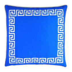 """NECTARmodern - Wave Key (blue) modern greek key throw pillow 20"""" x 20"""" - An embroidered Greek key pattern borders this chic pillow. Grecian blue with white embroidery. Rolled contrast piping around the edge. Solid blue back. Designer quality cover with overstuffed feather/down insert."""