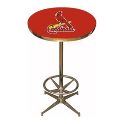 Imperial International - St. Louis Cardinals MLB Pub Table - Check out this awesome pub table. It's perfect for your Man Cave, Game Room, Home Bar, or anywhere you want to show love for your favorite team. It has a disco style steel base with leg levelers and foot ring.