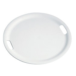 "Alessi - Alessi ""Op"" Tray - Isn't this tray très moderne in sleek, high-grade white plastic? There's a round center space large enough to serve drinks or appetizers, or to corral tabletop items. And it features two smooth handles so your feast is movable. Tray bien."
