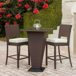 Figari Hi-Top Set - The Figari outdoor Pub Set includes a table and two stools available in espresso rattan, water resistant outdoor fabric cushions that come with standard removable off white color