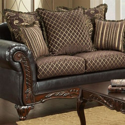 Chelsea Home - Traditional Loveseat - Includes toss pillows. Diamond, fringe, contrasting striped with paisley pattern pillows. Sofa in sienna brown cover. Pillow in bi-cast brown fabric over high-density cover. Seating comfort: Medium. Plush, rolled arms. Dacron wrapped foam reversible seat cushions. Zippered cushions. 8.5 gauge medium loop sinuous springs spaced 5 in. apart. 1.8 density foam with 0.75 of fiber wrapping. Ornately carved wood trim. Fabric contains: 100% polyester. Made from mixed hardwoods and plywood. Made in USA. No assembly required. Seat: 46 in. L x 25.5 in. W x 22 in. H. Overall: 69 in. L x 34 in. W x 36 in. H (135 lbs.)The Chelsea Home Furniture Amelia Collections brings sense of Victorian elegance to any living room area. This beautiful set, by Chelsea Home Furniture, epitomizes Chelseas legendary reputation for quality and comfort.