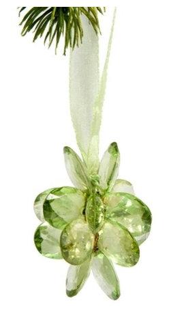 Sitara Collections - Handmade Peridot Green Acrylic Flower Ornament with Matching Ribbon Hanging Cord - Acrylic Flower ornament with Ribbom.
