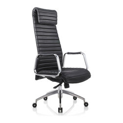 White Line Imports - Oxford Executive High Back Office Chair in Black Leatherette - This stylish office chair will help you to do your work efficiently. The chair has high back design with ribbed leatherette cover in Black, synchronized mechanism with 5 positions, high density foam and chrome aluminum base.
