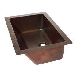 "Artesano Copper Sinks - Rectangular Undermount  Bathroom Copper Sink - Rectangular Undermount  Bathroom Copper Sink 20 x 15 x 7 for Undermount or Dropped In installation, 1.5"" rims, 1.5"" drain,  all hand made, all copper, all hammered, gauge 16, inside 17 x 12 x 6.5"""