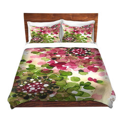 DiaNoche Designs - Duvet Cover Microfiber King from DiaNoche Designs by Dawn Derman - Hydrangea - DiaNoche Designs works with artists from around the world to bring unique, artistic products to decorate all aspects of your home.  Super lightweight and extremely soft Premium Microfiber Duvet Cover (only) in sizes Twin, Queen, King.  Shams NOT included.  This duvet is designed to wash upon arrival for maximum softness.   Each duvet starts by looming the fabric and cutting to the size ordered.  The Image is printed and your Duvet Cover is meticulously sewn together with ties in each corner and a hidden zip closure.  All in the USA!!  Poly microfiber top and underside.  Dye Sublimation printing permanently adheres the ink to the material for long life and durability.  Machine Washable cold with light detergent and dry on low.  Product may vary slightly from image.  Shams not included.