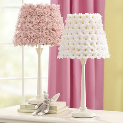 Flower Shade & Madison Touch Base - Add an unusual take on traditional florals with these flower shades and bases. The sleek white bases offer a balance for the delightfully surprising detailing of these sweet lamps. Hand fastened to the shade, these little buds will offer beautiful detail to any girlie space.
