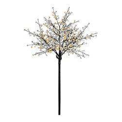 Lightshare - Lightshare 8Ft 600 LED Pear Blossom Flower Tree, 70 LED Solar Light - You will get a free gift with this purchase which is 70 LED Solar Decoration Lights, 22.9 Ft length (ON/OFF/FLASH switch included), which is packed in a nice color box together with the fantastic frosted tree package.