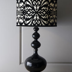 "John-Richard Collection - John-Richard Collection ""Draper"" Lamp - Ramp up your home's coolness quotient with this handcrafted retro-design black ceramic urn lamp topped off with a black and cream flocked velvet shade in a bold scrolled pattern. From the John-Richard Collection. Shade is cotton velvet with a manmade...."