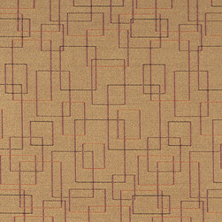 Beige Burgundy Orange Geometric Squares Durable Upholstery Fabric By The Yard - P6035 is great for residential, commercial, automotive and hospitality applications. This contract grade fabric is Teflon coated for superior stain resistance, and is very easy to clean and maintain. This material is perfect for restaurants, offices, residential uses, and automotive upholstery.