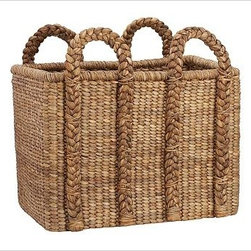 Beachcomber Seagrass Basket, XXL Rectangular - Our Beachcomber basket is handwoven from sustainable natural fibers and is ideal for keeping extra pillows, blankets and other everyday necessities neatly stowed. Sturdy handles allow for lightweight, easy toting. Hand woven of chunky, natural seagrass. Watch a video about {{link path='/stylehouse/videos/videos/ba_v5.html?cm_sp=Video_PIP-_-DECORATING-_-BEACHCOMBER_BASKET' class='popup' width='420' height='300'}}decorating with baskets{{/link}}. See this item featured in {{link path='pages/popups/asi_ch_211.html' class='popup' width='720' height='800'}}Canadian House & Home{{/link}}.