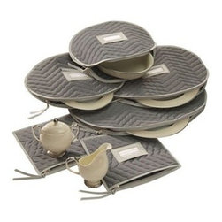 "Richards Homewares Inc - Quilted Gray Accessory Cases - Why allow your fine china to be damaged when our Gray Microfiber Cases can protect the edges? The Accessory Cases are a set of 6 pieces - 4 platter 1 creamer and 1 sugar. A label slot allows you to mark whats inside.Oval platter case: 20 X 15"" Oval platter case: 16 X 12""Oval platter / bowl case: 15 X 10""Oval platter / bowl case: 13 X 11""Creamer and sugar cases (1 each): 9 X 10"""