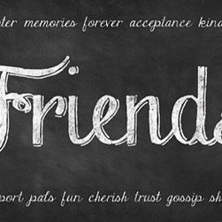 "Friends Chalk Art Print - This chalk art print is 18""x9"" unmatted and unframed. Printed with premium inks on 100lb archival paper, it is carefully packaged and shipped to you in a mailing tube."