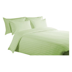 300 TC 15 Deep Pocket Split Sheet Set Stripsed Sage, Twin - You are buying 1 Flat Sheet (66 x 96 inches), 2 Fitted Sheet (39 x 80 inches) and 2 Standard Size Pillowcases (20 x 30 inches) only.