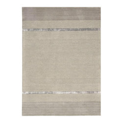 "Calvin Klein Home - Calvin Klein Home CK205 Vale VAL02 2'3"" x 7'6"" Zinc Area Rug 13706 - A timeless and elegant composition balanced by a border of thick and thinly weighted textural bands. Features multilayered, straight-lined designs of alternating matte and shine bands in cool mineral shades."
