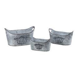 Metal Planters With Parisian Print - Set of 3 - *Dimensions: 6L x 11W x 6.25H